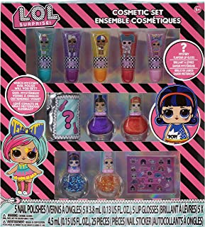 Townley Girl L.O.L Surprise Super Sparkly Cosmetic Makeup Set includes Lip Gloss, Nail Polish and Nail Stickers for Kids T...