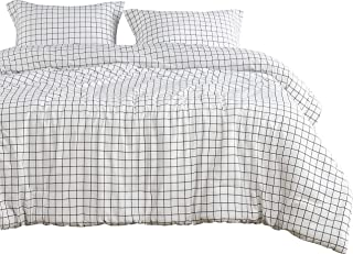 Wake In Cloud - Grid Comforter Set, White with Black Grid Geometric Modern Pattern Printed, 100% Cotton Fabric with Soft Microfiber Inner Fill Bedding (3pcs, Queen Size)