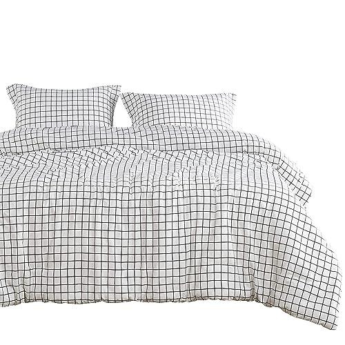 c365332fce Wake In Cloud - Grid Comforter Set, White with Black Grid Geometric Modern  Pattern Printed