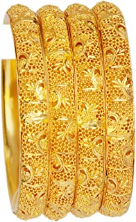 JD'Z COLLECTION Indian Gold Plated Bangle Bracelet Bollywood Jewelry Ethnic Pola Bangles Set 4pc Traditional Designer Bangles