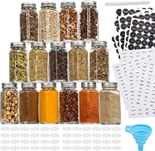Aozita 48 Pcs Glass Spice Jars/Bottles - 4oz Empty Square Spice Containers with 612 Spice Labels - Shaker Lids and Airtigh...