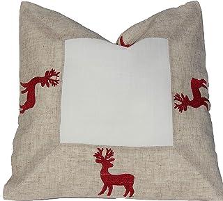 Kuddöverdrag – hjortar – beige och vitt rött broderat mycket vackert festligt broderi för vinter jul bordsduk, storlek: 40...