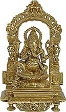 Lord Ganesha with a Traditional Prabhavali as The Backdrop (Hoysala Art) - Bronze Statue