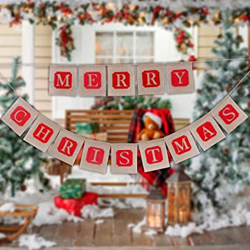 Christmas Bunting Jute Fabric Spells CHRISTMAS 9 Flags Garland Hessian Xmas Gift