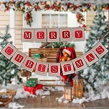 Banner de arpillera navideña - Liquidación de venta de decoraciones navideñas - Feliz Navidad Bunting Banner Arpillera - 14 bandera guirnalda de arpillera para decoración de fiesta de Navidad