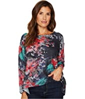 Floral Printed Brush Sweater Top
