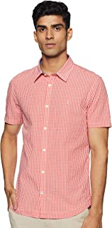 Indian Terrain Men's Checkered Slim fit Casual Shirt (ITMSH01213_Peach M)