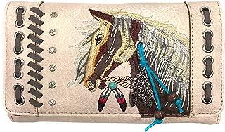 Zelris Dakota Dales Pony Horse Embroidery Mane Western Country Women Crossbody Wallet (Beige)
