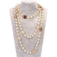 MISASHA Fashion Jewelry Faux Imitation Pearl Flower Charm Necklace for Women