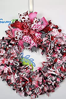 Valentines Day Fabric Wreath, Skulls Hearts and Roses Wreath, Valentines Day Rag Wreath, Skulls and Roses Wreath, Love Wreath, Gothic Wreath