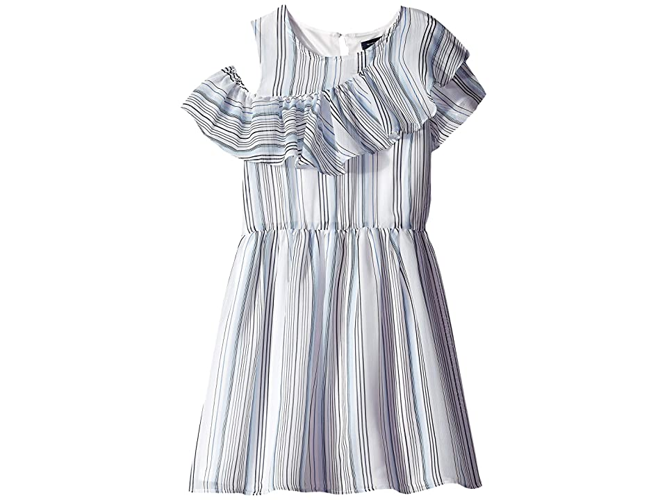 Tommy Hilfiger Kids Chiffon Stripe Dress (Big Kids) (White) Girl