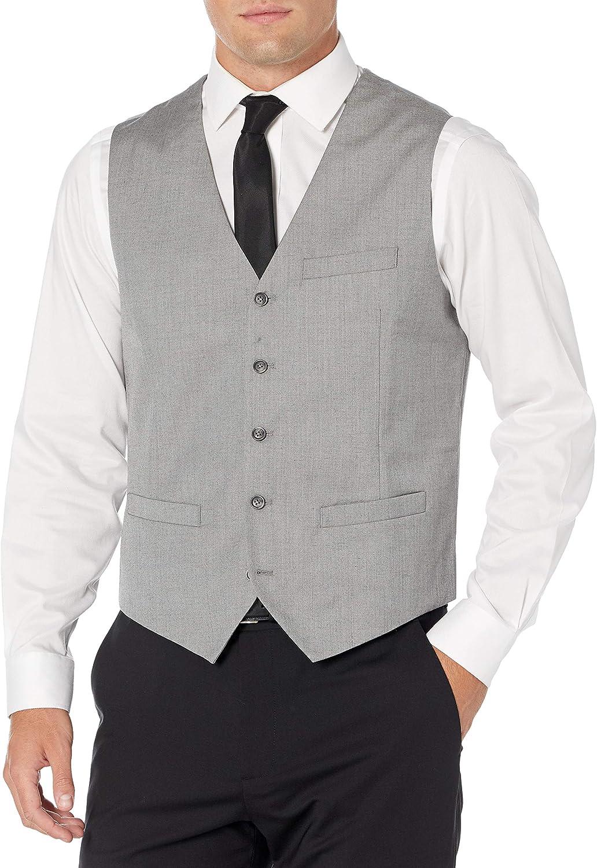 Perry Ellis Men's Big and Tall Slim Fit Stretch Herringbone Suit Vest