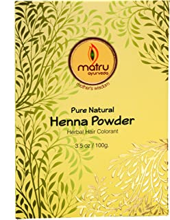 Matru Ayurveda Henna Powder 100gm/3.5 oz - 100% Pure, Natural and Chemical free - Ayurvedic / Herbal Hair and Beard Color/Dye, Mehndi Powder Hair conditioner - Covers Gray Hair, Strengthens dull Hair