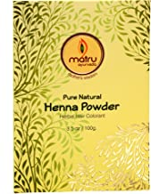 Matru Ayurveda Henna Powder 100gm/3.5 oz - 100% Pure, Natural and Chemical free - Ayurvedic / Herbal Hair and Beard Color/Dye, Mehndi Powder Hair conditioner - Covers Gray Hair, Strengthens dull Hair