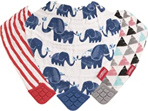 Nuby Reversible 100% Natural Cotton Muslin 3 Piece Teething Bib, Grey/Red/Blue, Arrows/Red Stripes/Elephants
