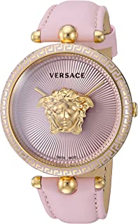 Women's Palazzo Empire Yellow Gold Swiss-Quartz Watch with Leather Calfskin Strap, Pink, 19 (Model: VCO030017)