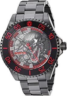 Men's Marvel Automatic-self-Wind Stainless-Steel Strap, Black, 20.3 Casual Watch (Model: 28855)