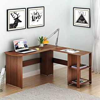 SHW L-Shaped Home Office Wood Corner Desk, Walnut