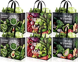 Whaline 12 Pack Extra Large Reusable Grocery Shopping Bags Vegetable Pattern Bags with Handles Extremely Durable Waterproo...