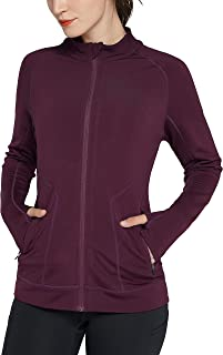 Cityoung Womens Slim Fit Fleece Track Jacket Full Zip Yoga Top Workout Running Jacket with Thumb Holes