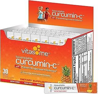 Curcumin-C Liposomal Dietary Supplement for Muscle Aches, Inflammation-Curcuma Longa root extract, Vitamin-C with Citrus Bioflavonoids, Black Pepper, Sunflower Lecithin / 30 Sachets, Orange Pineapple