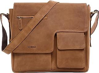 LEABAGS Birmingham Umhängetasche Schultertasche Laptoptasche aus echtem Leder im Vintage Look - Braun