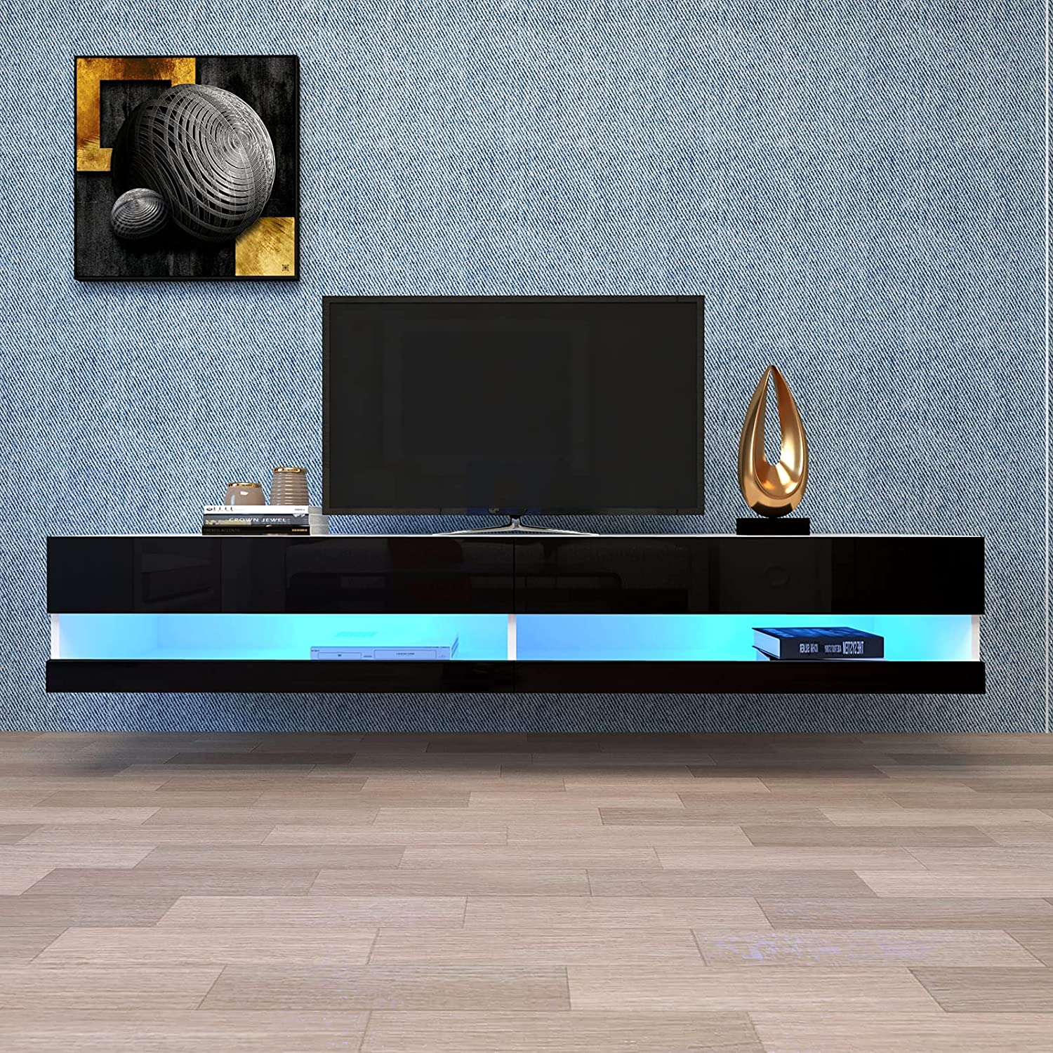 20 Color LED Effects Wall Mounted Living Room Console Table Large Storage Cabinet for 80 inch TVs,Lomgee Floating TV Stand Entertainment Center- W Multiple Color Options (White)