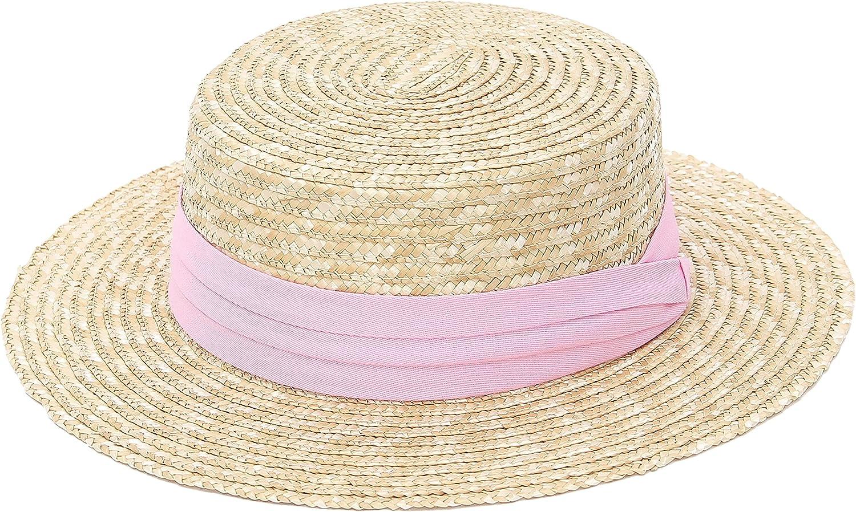 GEMVIE Women's Vintage Flat Top Sun Hat Straw Boater Hat Ladies Elegant Fedora Straw Hat Derby Church Sun Hat with Band