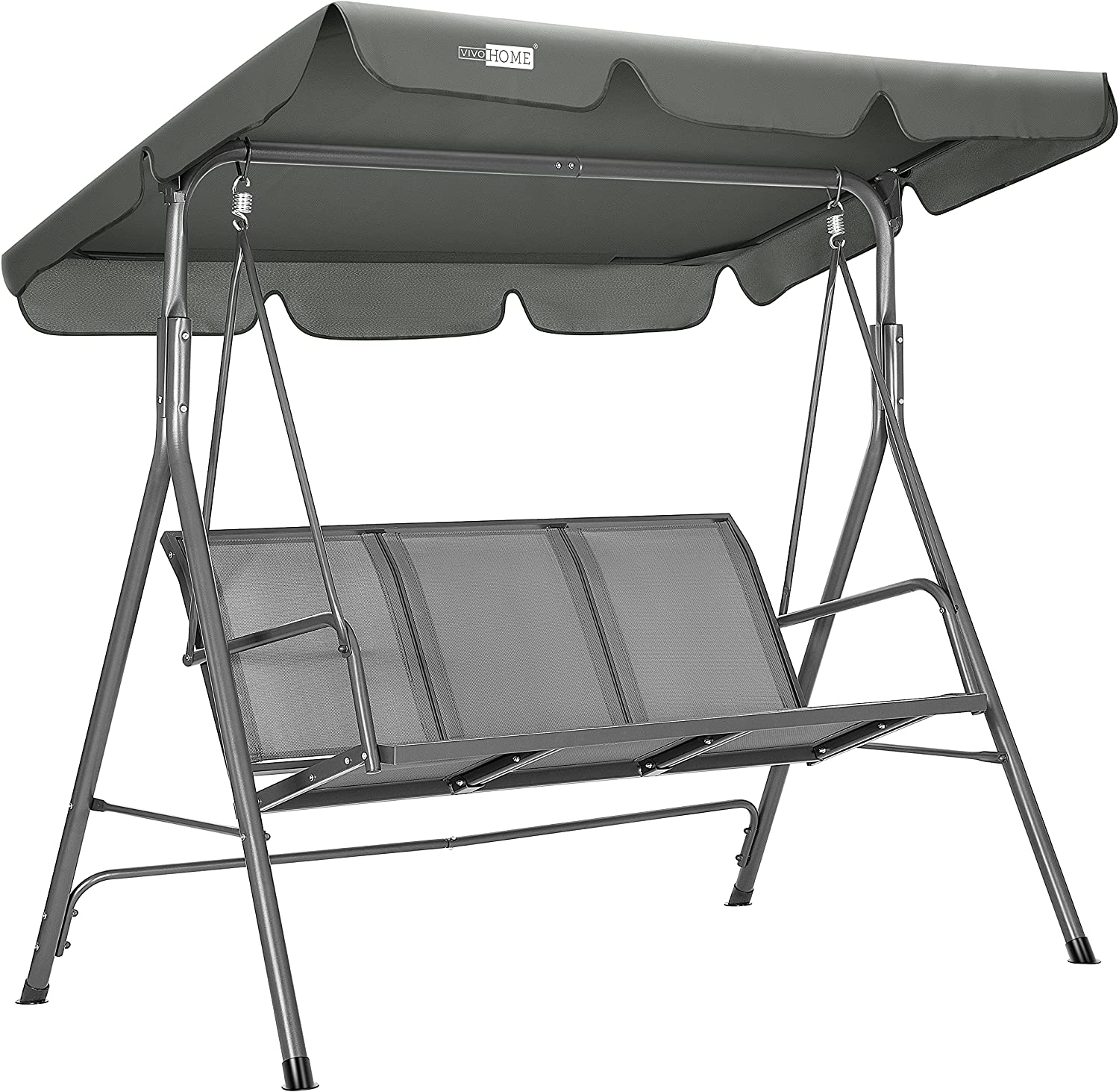VIVOHOME 3-Seater Outdoor Adjustable Canopy Swing Chair with Armrests, Patio Loveseat Glider Bench for Garden, Poolside, Balcony & Backyard, Textilene Fabric, Steel Frame - Gray