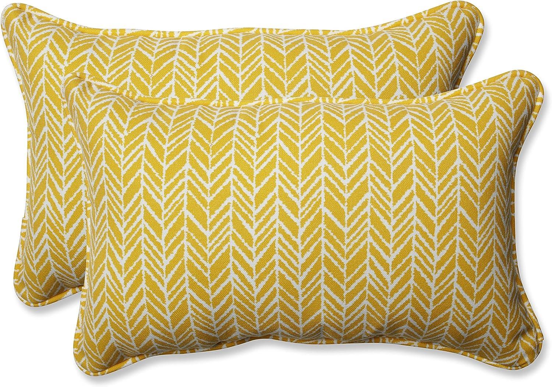 Pillow Perfect 610191 Outdoor Indoor Yolk trust Herringbone Sale Egg Lumbar
