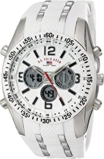 U.S. Polo Assn. Sport Men's US9282 Silver-Tone Watch with White Silicone Band