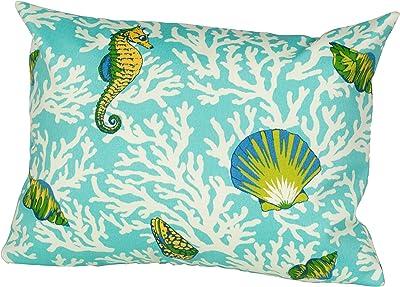 Rennie & Rose Kittery Throw Pillow, 12-Inch by 16-Inch, Aqua Blue