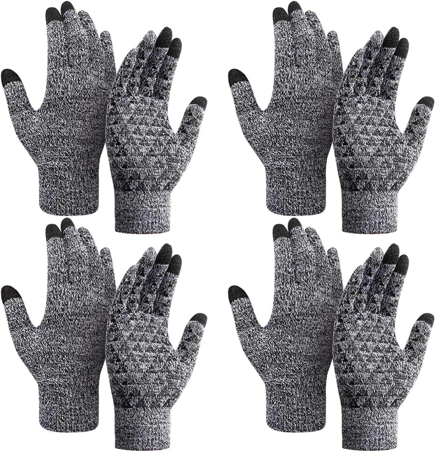 4 Pairs Winter Knit Gloves Knit Touchscreen Warm Gloves Anti-slip Stretchy Gloves for Men and Women (Black, Grey, M)