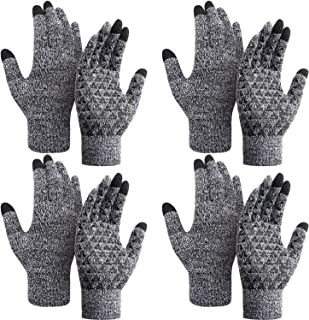 4 Pairs Winter Knit Gloves Knit Touchscreen Warm Gloves Anti-slip Stretchy Gloves for Men and Women
