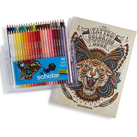 Adult Coloring Book Designs and Prismacolor Scholar Colored Pencils Set of 48 Assorted Colors