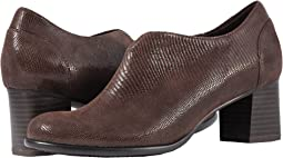 Dark Brown Soft Lizard Embossed Patent Suede