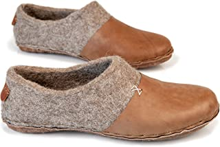 9ade36077f51 BureBure Felted Wool Women Clogs with Natural Edge Leather Handmade in  Europe