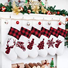LUBOTS Set of 6 Christmas Stocking(20inch) Silhouette Buffalo Red Plaid/Rustic/Farmhouse/Country Cotton Fireplace Hanging ...