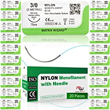 3-0 Sutures Thread with Needle Non-Absorbable for Surgical Suture Practice Kit, Medical, Nursing, EMT, PA, Dental, Veterinary Student's Hospital Training Set, Taxidermy