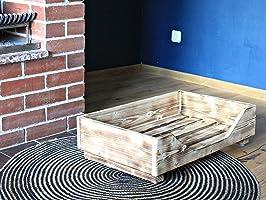 Hundebett aus Holz für kleine/mittlere/große Hunde - 60-110 x 40-60 cm - Farbe: - Hundesofa aus Massivholz (XXS, Geflammt)
