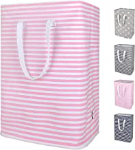 DOKEHOM 24-Inches Thickened X-Large Laundry Basket with Drawstring, Waterproof Square Cube Cotton Linen Collapsible Storage Basket (Red Strips, XL)