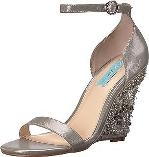 Blue by Betsey Johnson Women's SB-Alisa Wedge Sandal, Silver, 9.5 M US