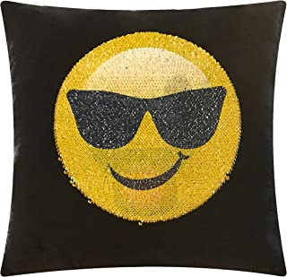"Emoji Pals Sequin Pillow, Yellow, 17"" x 17"""