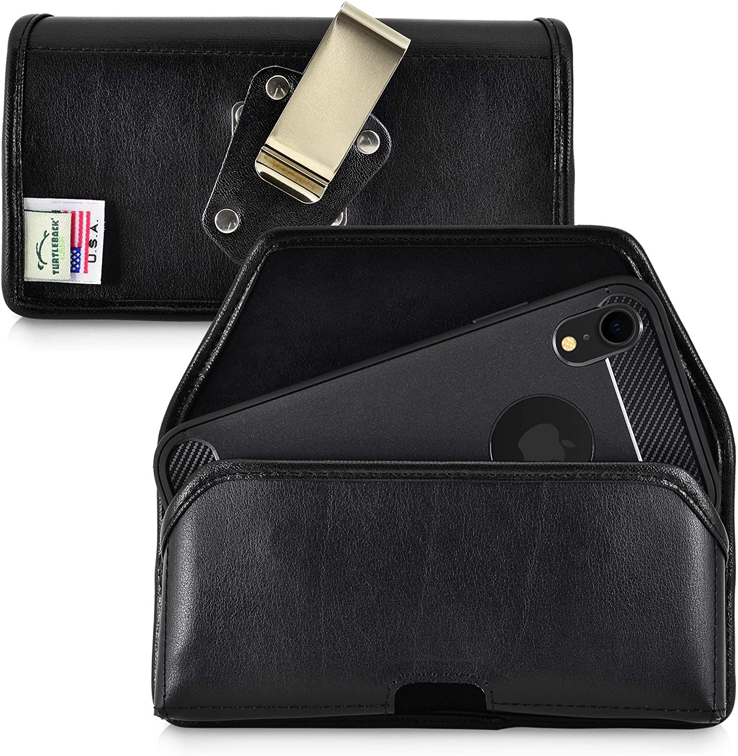Turtleback Belt Case Designed for iPhone 11 (2019) and iPhone XR (2018) Belt Holster Black Leather Pouch with Heavy Duty Rotating Belt Clip, Horizontal Made in USA