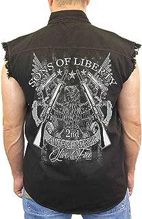 Men's Sleeveless Denim Shirt Sons of Liberty 2nd Amendment Biker