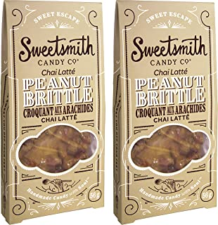 Sweetsmith Candy Co. Chai Latte Peanut Brittle – Handmade, Gluten-Free, Egg-Free, Soy-Free, Vegan and Dairy-Free (Chai Latte, 2 Pack)