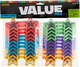 """Amscan Star Sunglasses Mega Value Pack Party Supply, Assorted, 2 1/4"""" x 5"""", 22ct"""
