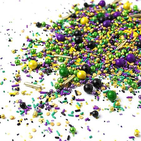Mardi Gras Purple and Green Jimmies Edible Sprinkles Yellow 4 oz