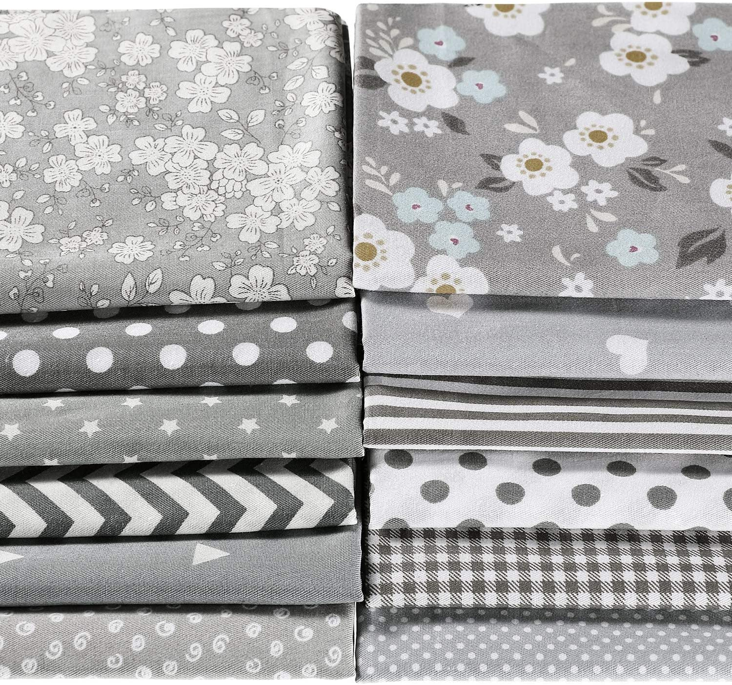 12 Pieces Quilting Fabric Grey Fat Quarters Floral Craft Fabric Bundle Patchwork Pre-Cut Sewing Square Sheets, 20 x 16 Inch/ 50 x 40 cm