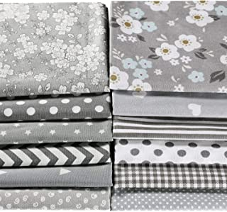 12 Pieces Quilting Fabric Grey Fat Quarters Floral Craft Fabric Bundle Patchwork Pre-Cut Sewing Square Sheets, 20 x 16 Inc...
